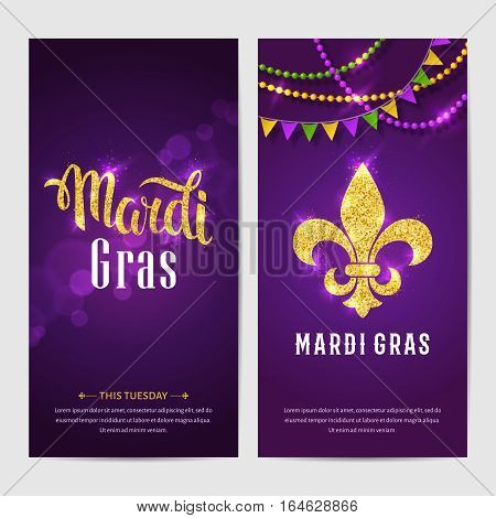 Mardi gras brochures. Vector logo with hand drawn lettering and golden fat tuesday symbols. Greeting card with shining beads on traditional colors background