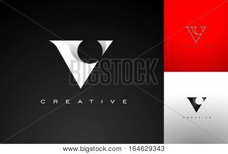 Letter V Monogram Stilized. Letter V Flat Design Outline