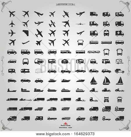 Transportation icons vector. Vector black Transportation icons set on gray.