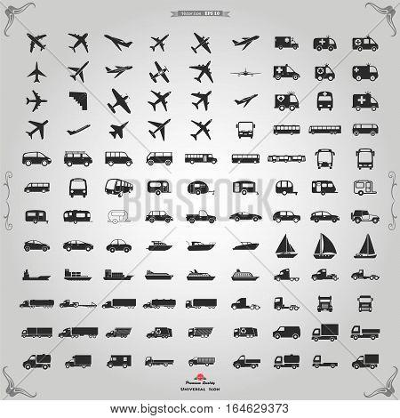 Transportation icons vector. Vector black Transportation icons set on gray.