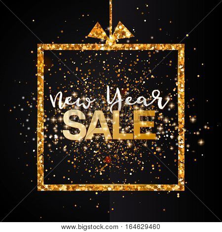 New Year Sale banner background for New Year shopping sale. Gold glittering frame, flat text. Design with for web online store or shop promo offer