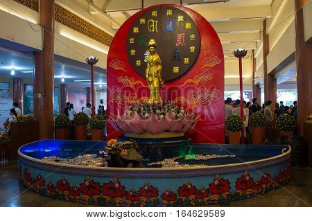 NONTHABURI THAILAND - JAN 8 2017 : tourist came to worship at Wat Borom Raja Kanchanapisek Anusorn commonly known as Wat Leng-noei-yi 2. The largest Chinese Buddhist temple in Thailand.