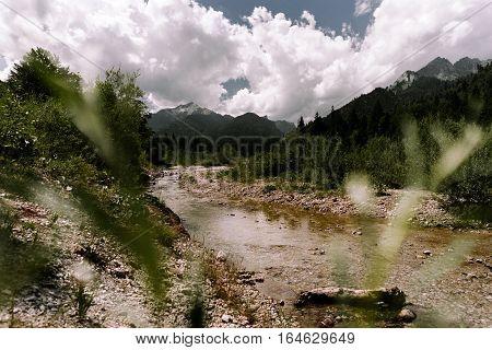 sunset ammergauer alpen mountain valley meadow sun sunray