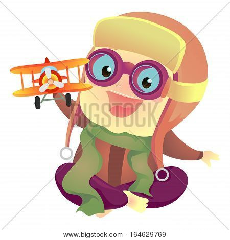 Vector Illustration of Baby Boy Playing Toy Plane