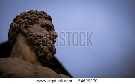 Bearded statue in the Piazza della Signoria Florence Italy