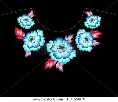 folk floral neckling embellishment. for collar, shirt and pendant. ethnic flowers and roses.
