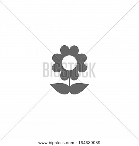 Simple flower vector icon isolated on a white background.