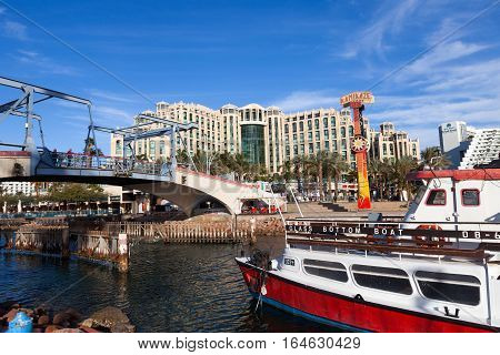 Eilat, Israel - January 4, 2017: Eilat's coastline, known for it's shops and luxury hotels and restaurants, located and the gulf of the red sea.