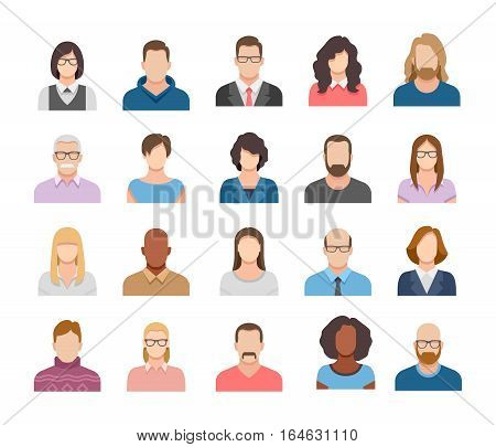 Business people flat avatars. Men and women business and casual clothes icons.