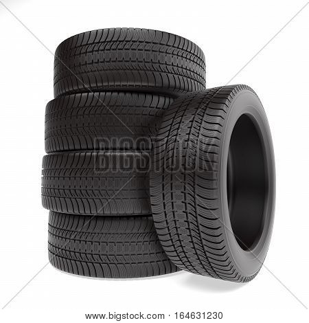 New tires stacked up and isolated on white background, 3d illustration