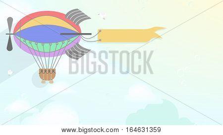 Advertising blimp airship. Vector cartoon style background