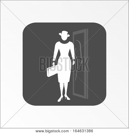 White silhouette on gray rounded rectangular sign with shadow. Vector illustration