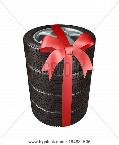 the tyres are stacked and packaged as a gift, wrapped in red ribbon and bow on white background, 3d illustration