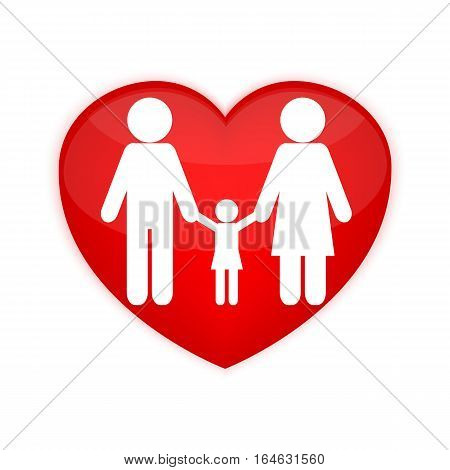 Lovely family icon vector. Valentines Day background