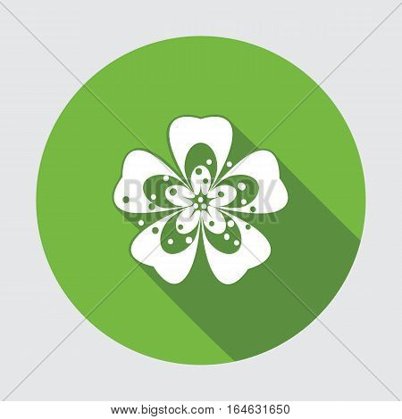 Primula flower icons. Spring flowers. Floral symbol. Round green flat icon with long shadow. May be used in cuisine. Vector isolated.