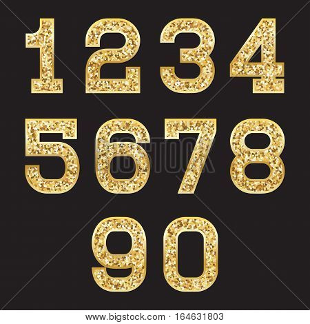 set of stylized gold textured numbers with metallic sheen and stroke