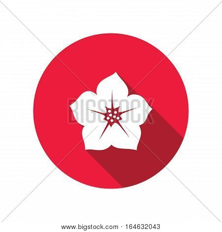 Petunia flower icon. Floral symbol. Round circle flat sign with long shadow. Vector