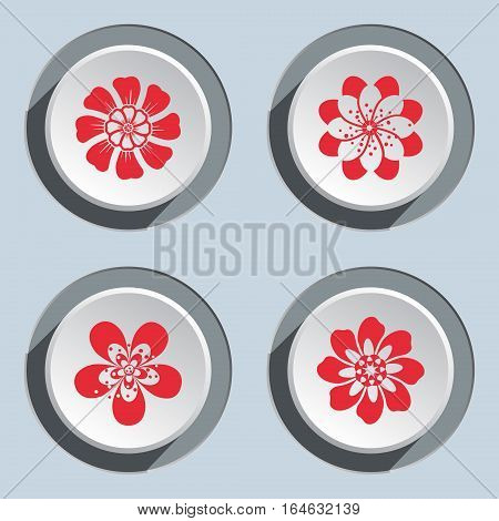 Flower icon set. Dahlia, aster, daisy, chamomile, chrysanthemum, gowan. Floral summer, autumn symbol. Red signs on white three dimensional button. Vector isolated