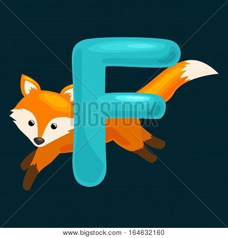 animal fox and letter for kids abc education in preschool.Cute animals letters english alphabet. Cartoon animals alphabet for learning letters vector illustration. Single letter with wild animal fox