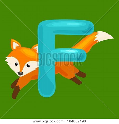 animal and letter for kids abc education in preschool.Cute animals letters english alphabet. Cartoon animals alphabet for learning letters vector illustration. Single letter with wild animal