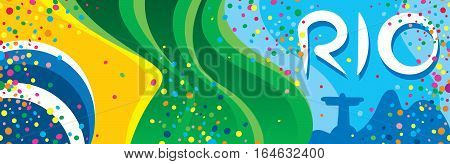 The flag of Brazil in front of the wonderful city in the carnival party with many confetti around and the name of the city in the sky