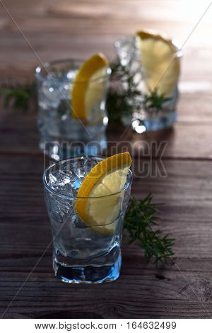Gin With Lemon , Juniper And Ice