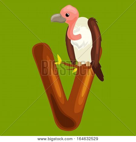 vulture animal and letter V for kids abc education in preschool.Cute animals letters english alphabet. Cartoon animals alphabet for learning letters vector illustration. Single letter with wild animal vulture