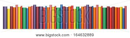 Color books in line isolated on a white background, 3d illustration