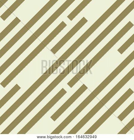 Seamless geometric pattern. Stripy texture. Diagonal khaki, dark yellow strips. Labyrinth theme background. Vector