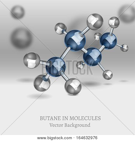 Scientific backdrop with Methane molecules in 3D style. CH4 vector illustrations isolated on a dark grey and blue background. Chemical, educational and popular-scientific concept.