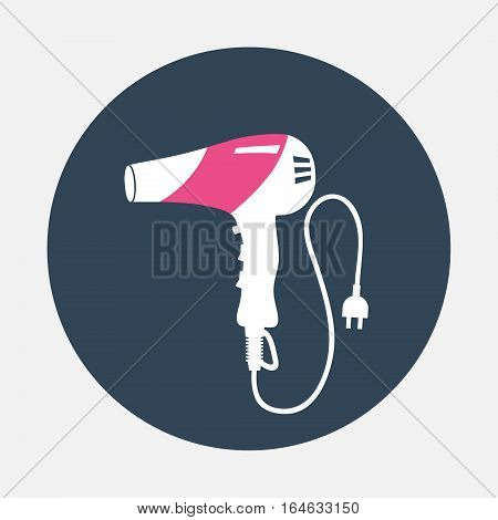 Hairdryer with cord, two pin plug icon. Household symbol. Magenta, white silhouette on gray round flat sign. Vector isolated