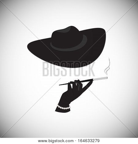 A mysterious stranger with a cigarette in the mouthpiece
