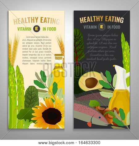 Tocopherol in food. Beautiful vector illustration with vitamin E rich food products in modern style. Portrait banners set. Healthy eating concept.