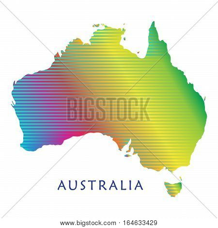 Australia map with colorful stripped pattern isolated on white background. Australian map illustration for Holiday cards, advertising, travel, web banners design. Vector illustration.