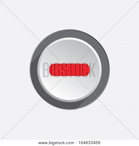 Minus sign icon. Negative symbol. Zoom out. Red silhouette on round white three dimensional button. Vector isolated