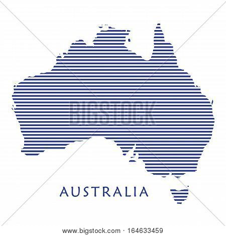 Australia map with blue stripped pattern isolated on white background. Australian map illustration for Holiday cards, advertising, travel, web banners design. Vector illustration.