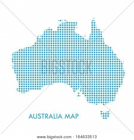 Australia map with blue dotted pattern isolated on white background. For Holiday cards design. Vector illustration.