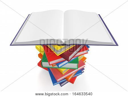 Open book on stack of books on white background, 3d illustration