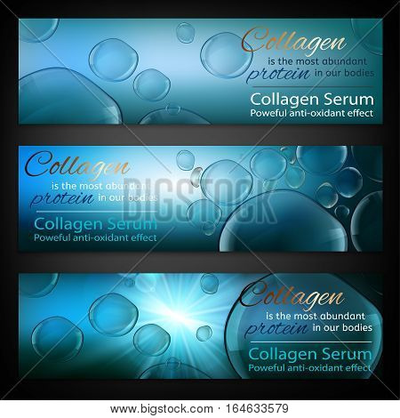 Transparent bubbles on the radiant blue background. Beautiful vector charmaceutical  illustration in realistic premium style. Cosmetic medicine, skin care or perfumery digital banner.