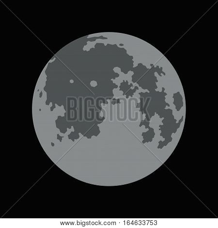 Full Moon Simple Icon on Black Background. Vector illustration