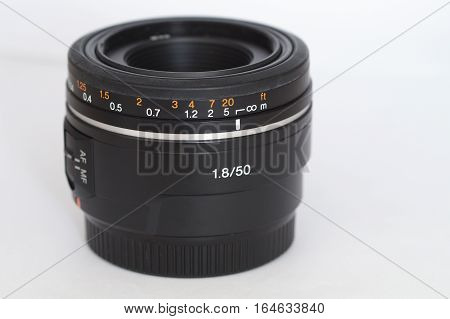 50mm lens for the dslr camera on a white background