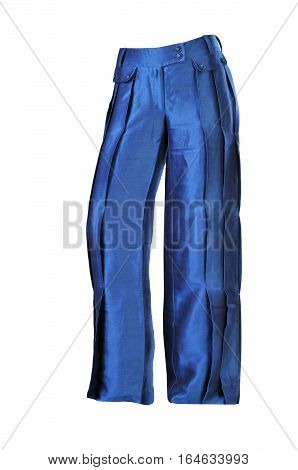 blue flared trousers for women on a white background
