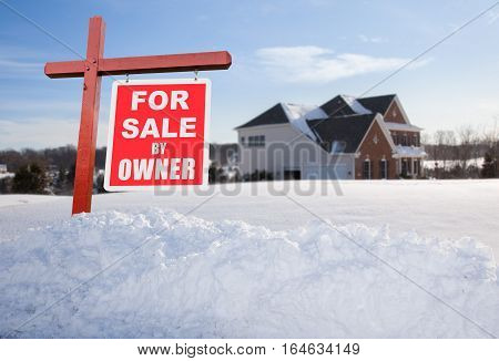 For Sale Sign In Front Of Large Usa Home