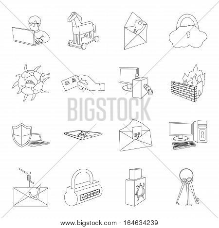Hackers and hacking set icons in outline design. Big collection of hackers and hacking vector symbol stock illustration