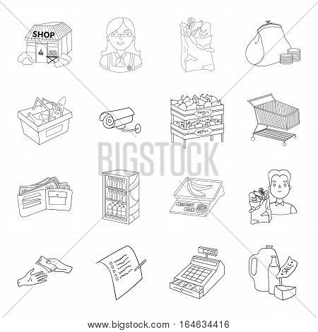 Supermarket set icons in outline design. Big collection of supermarket vector symbol stock illustration
