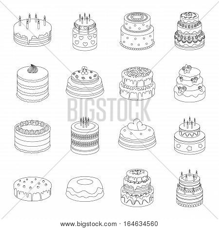 Cakes set icons in outline design. Big collection of cakes vector symbol stock illustration