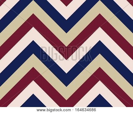 Striped, zigzagging seamless pattern. Zig-zag line texture. Stripy geometric background. Maroon, white, purple contrast colored. Winter theme. Vector