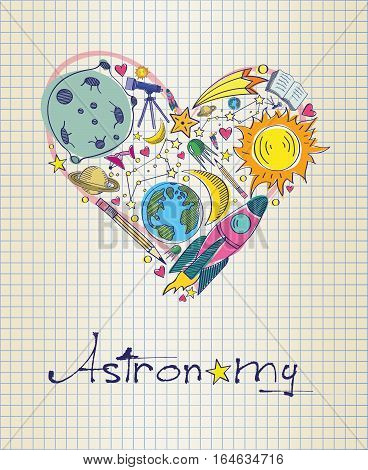 Vector illustration of astronomy in shape of heart
