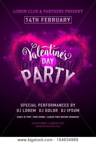 Vector illustration of invitation valentines day party poster template with calligraphy lettering text sign, purple hearts. Romantic flyer for 14 february