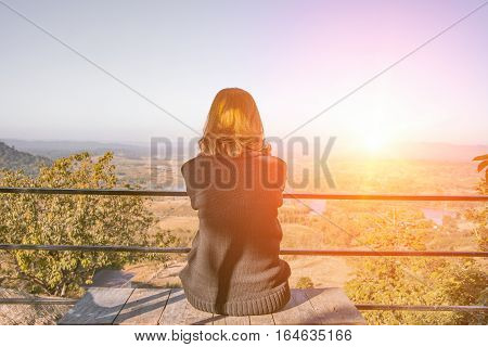women waiting and Look out view landscape